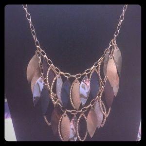 Blue and golden spiral leaf necklace